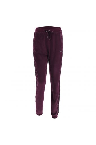 Chenille trousers with lateral sequin bands