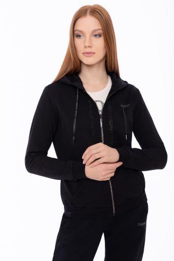 Stretch-Sweatshirt mit Kapuze und mit Strasssteine verziert