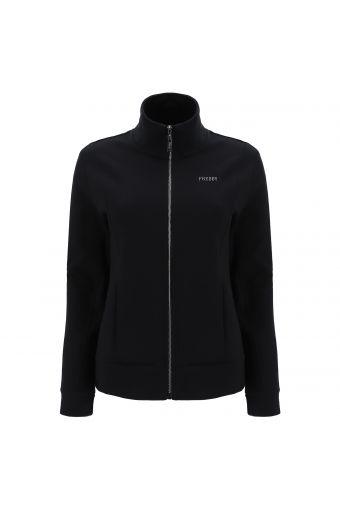 Sweatshirt mit hohem Kragen mit Reißverschluss und Streifen mit Mikro-Nieten auf den Hüften