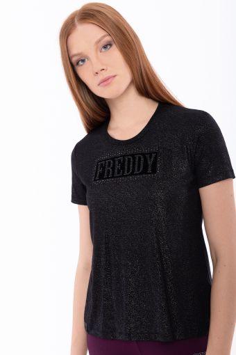 T-Shirt mit Glitzer-Effekt mit Strasssteinen und Mikronieten