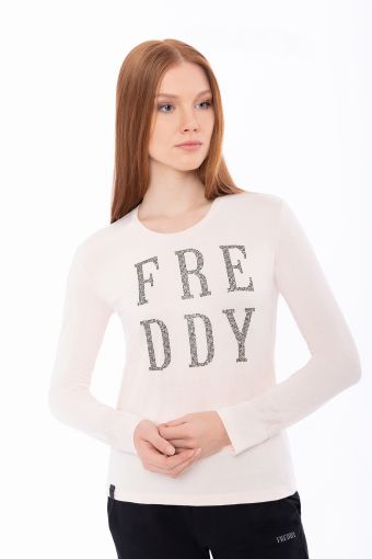 Long-sleeve t-shirt with micro studs and floral trim
