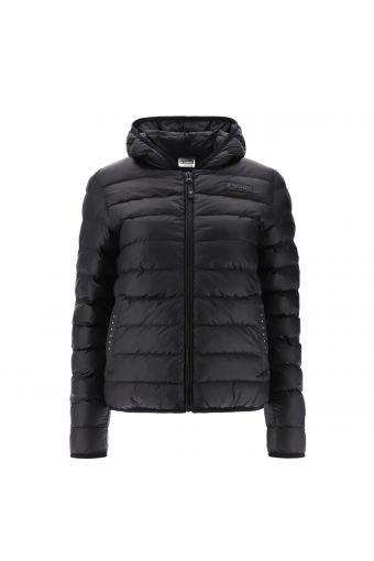 Winter-Daunenjacke in Total Black mit Kapuze