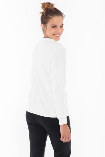 White long-pile fleece crew neck shirt