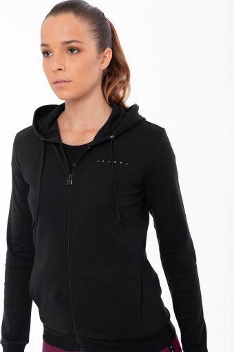 Sweat-shirt en tissu interlock avec fermeture éclair et capuche