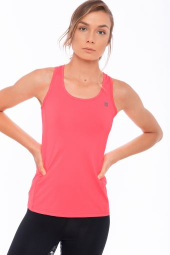 Performance fabric fitness tank top with glitter details
