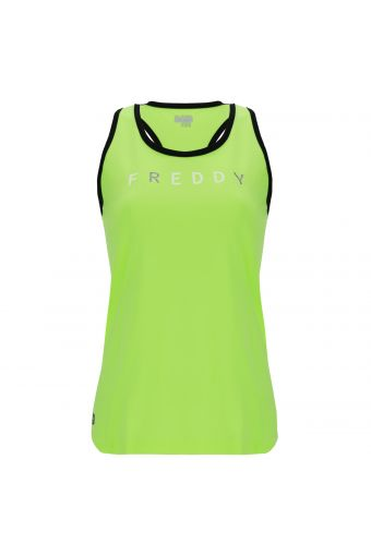 Fluorescent racer back fitness tank top in performance fabric