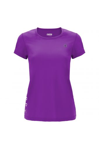 Performance fabric fitness t-shirt with glitter details