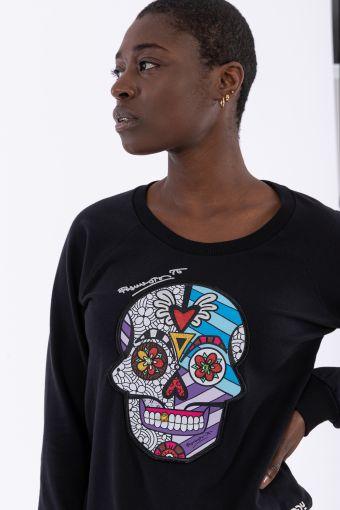 Skull patch crew neck sweatshirt - Romero Britto Collection