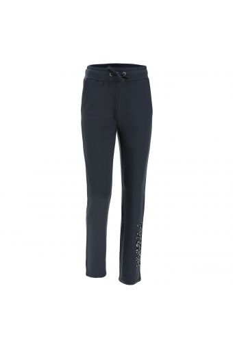 Viscose fleece joggers with a decoration on the lower leg
