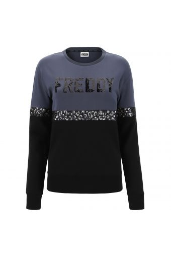Two-tone comfort fit sweatshirt with sequins