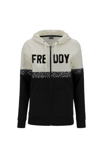 Two-tone hoodie with sequins