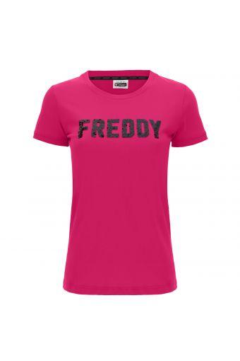 Kurzärmeliges T-Shirt mit FREDDY-Logo aus Pailletten