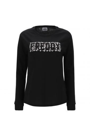 Langärmeliges Shirt mit Grafik-Box-Logo aus Pailletten