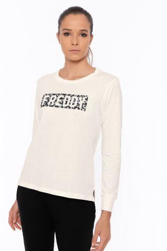 Camiseta de manga larga con logotipo de lentejuelas en contraste