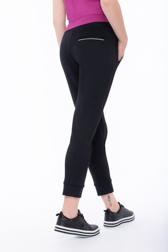 Interlock trousers with rhinestone-trimmed pockets