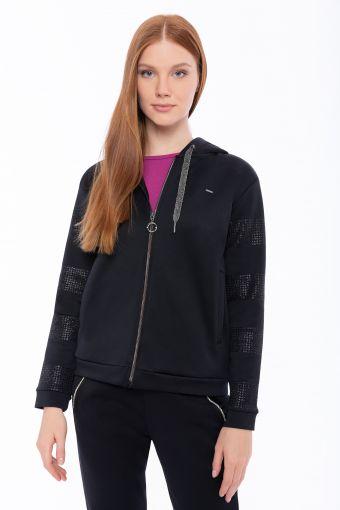Kapuzen-Sweatshirt mit Glitzerstreifen in passender Farbe auf den Ärmeln