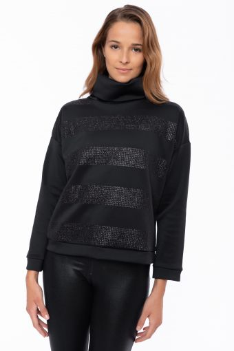 Polo neck sweatshirt with printed maxi glitter stripes