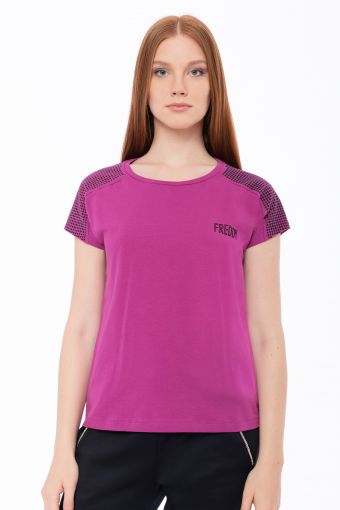 Stretch t-shirt with micro glitter dots