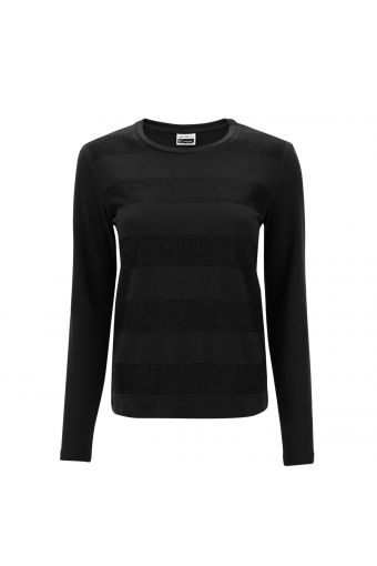 Long-sleeve t-shirt with maxi stripes composed of glitter micro dots