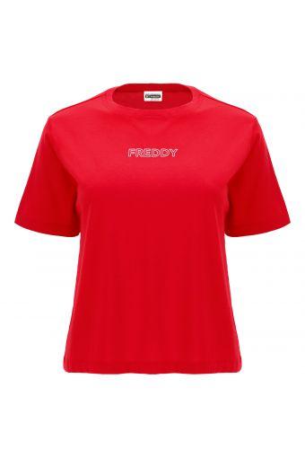 Camiseta cómoda con maxiestampado MOV. en la espalda