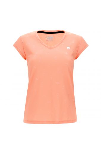 Women's textural print yoga t-shirt - 100% Made in Italy