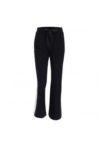 Fleece palazzo trousers with silver lateral bands