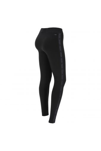 Pantaloni slim fit con banda logata in filo lurex
