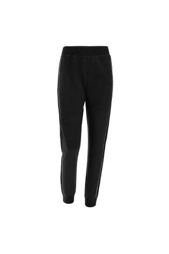 Fleece trousers with lateral lace and lurex bands