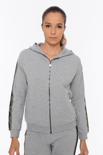 Melange hoodie with decorated sleeves