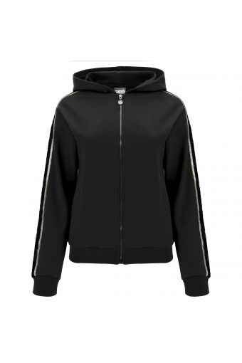 Stretch hoodie with lace and lurex inserts