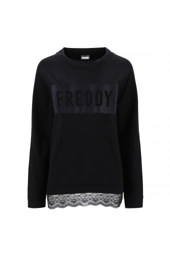 Crew neck sweatshirt with a bow and lace panel