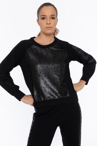 Cropped comfort-fit sweatshirt with a maxi sequin panel