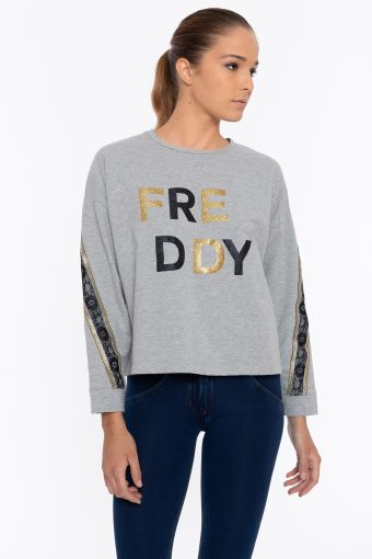 Melange sweatshirt with a black and gold glitter FREDDY print and bands