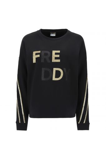 Comfort-fit sweatshirt with a black and gold glitter FREDDY print and bands