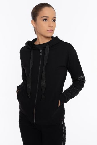 Black hoodie with sequin and lurex inserts