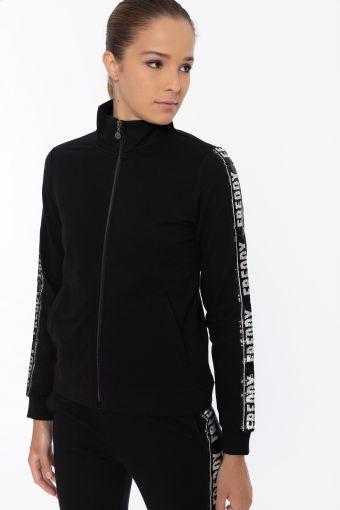 Schwarzes Sweatshirt mit hohem Kragen und Logo-Streifen aus Pailletten