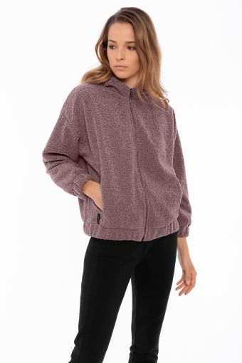 Sweat-shirt à capuche avec fermeture éclair en polaire froncé