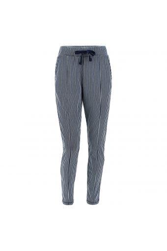Pantaloni tapered in denim a righe
