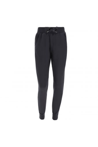 Stretch trousers with a maxi-drawstring and cuffed hems