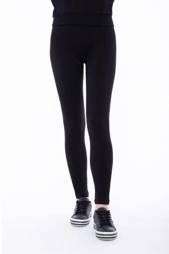 Leggings skinny in felpa elasticizzata con carré a cuore
