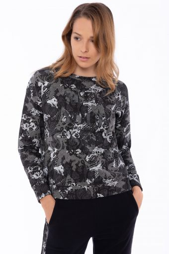 Stretch sweatshirt with a paisley-camouflage print