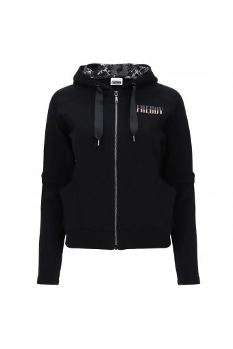 Zip-front hoodie with 2-in-1 effect sleeves