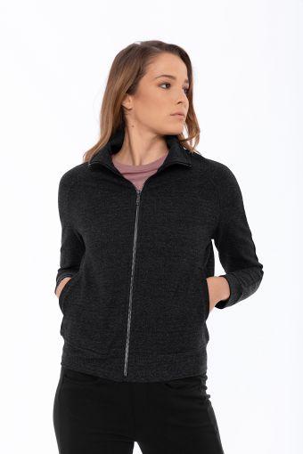 Zip-front comfort-fit sweatshirt in textured fabric
