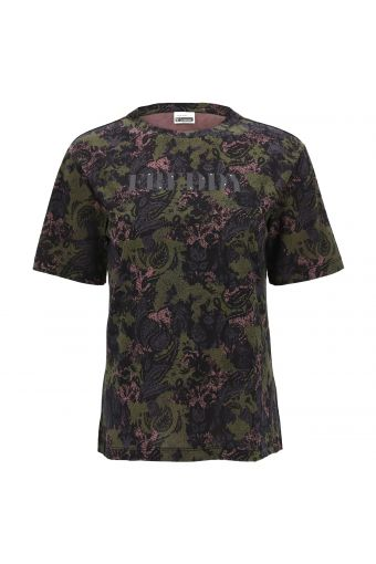 Short-sleeve t-shirt with a paisley-camouflage print