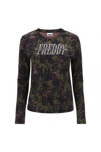 Long-sleeve t-shirt with a camouflage-paisley print and glitter logo