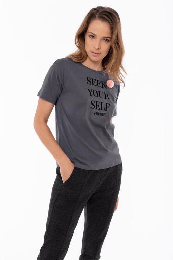 T-shirt manica corta con stampa e pompon
