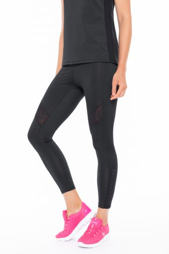 Performance fitness leggings with tulle inserts