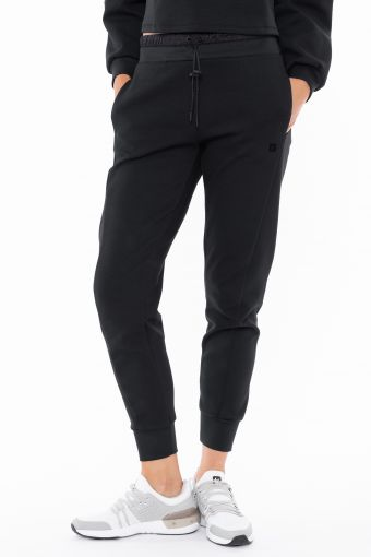 Joggers with a shiny fabric waistband and drawstring