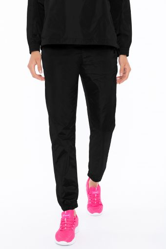 Shiny nylon boyfriend trousers