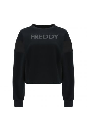 Cropped sweatshirt with a logo and shiny fabric inserts